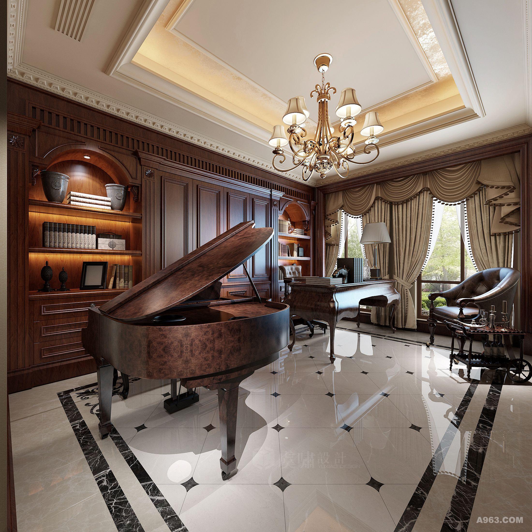 简约美式客厅钢琴
